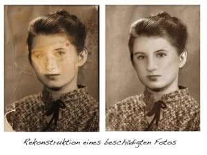 Reproduktion eines beschädigten Fotos